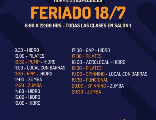 Horarios Especiales Feriado 18/07