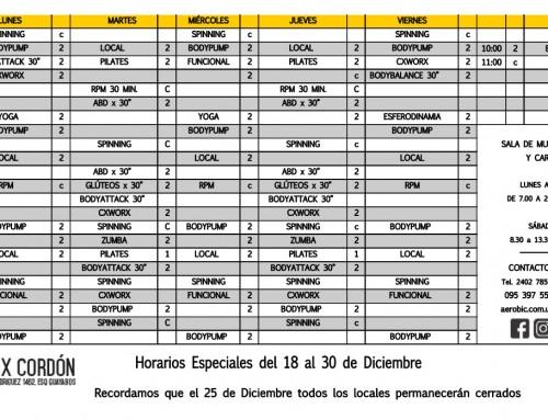 Horarios del 18 al 30 de diciembre en Mix Cordón