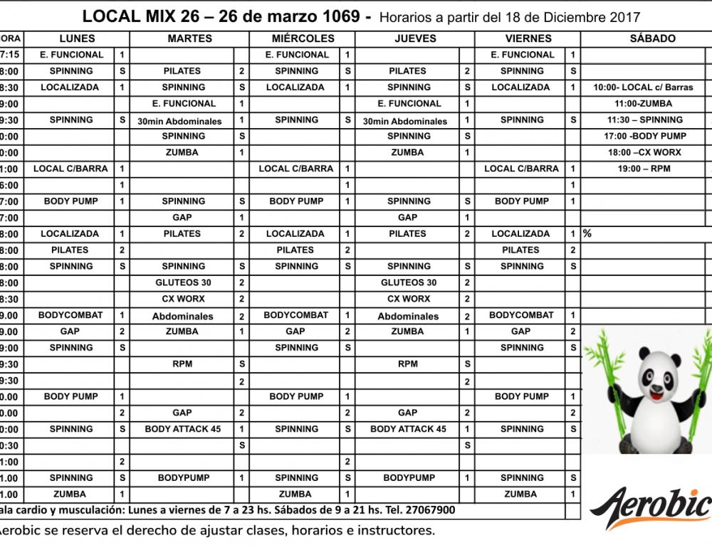 Horarios Mix 26 a partir del 18 de Diciembre
