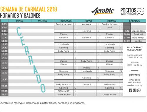 Horarios especiales en Semana de Carnaval