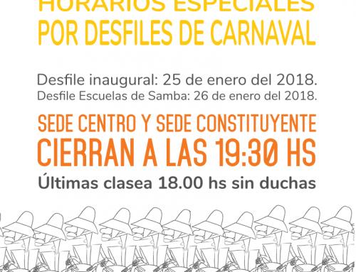 Horarios Especiales por Desfiles de Carnaval